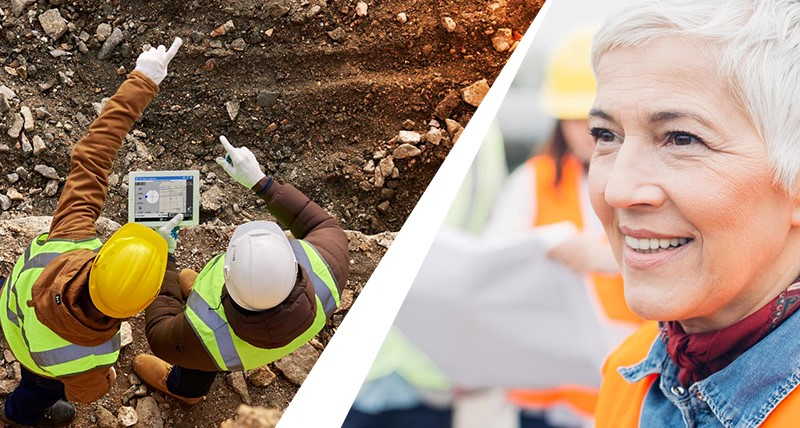 Split image showing construction workers pointing at work and a lady on another construction site